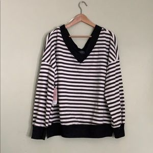 Striped Waffle Knit Oversized Top